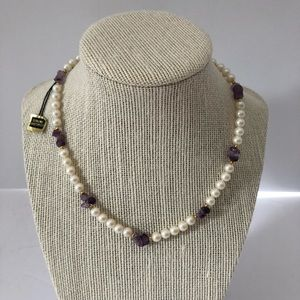 Jewelry - Vtg Necklace Genuine Amethyst Faux Pearl Gold Tone